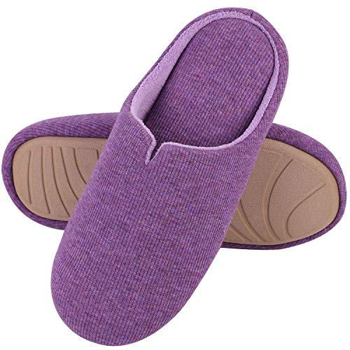 Women's Comfort Cotton Knit Memory Foam Slippers Light Weight Terry Cloth House Shoes w/Anti-Skid Rubber Sole (Large / 9-10 B(M) US, -