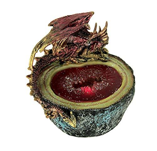 Everspring - Estatua de Resina, diseño de dragón Rojo Sobre geoda LED, Piedra de Vidrio, 12,7 x 10,16 x 11,43 cm, Color...
