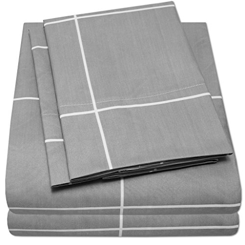1500 Supreme Collection Bed Sheets - PREMIUM QUALITY 4-PIECE BED SHEET SET, SINCE 2012 - Deep Pocket Wrinkle Free Hypoallergenic Bedding - 4 Piece Set - Gray Body/White Window Pane - Queen