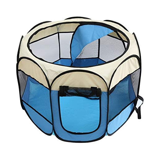 CARBE kennelPortable Folding Pet Tent Dog House Cage Dog Cat Tent Playpen Puppy Kennel Easy Operation Octagonal M RT615L