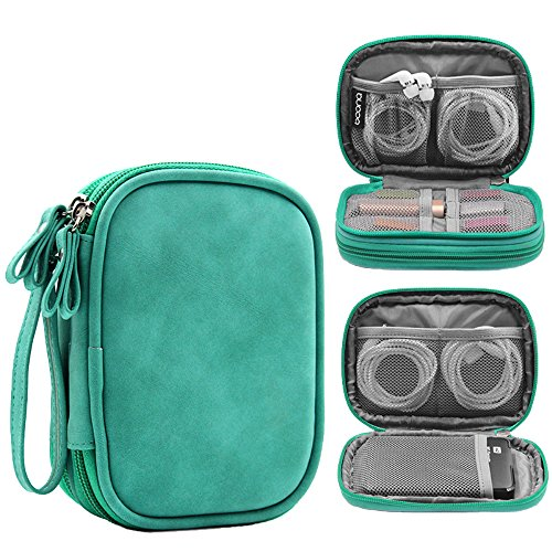 Honeystore Double Layer Gadget Organizer Universal Travel Gear Electronics Accessories Bag Electronics Carrying Case for USB Cable, Flash Drive, Hard Disk, Earphone, SD Card, Power Bank and More Green by Honeystore (Image #7)