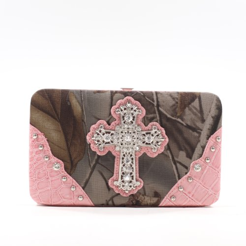 Emperia Women's Wallet/Clutch with Push Button Closure and Embellished Silver Rhinestone Cross