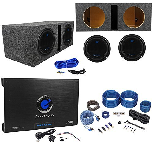 2 PLANET AUDIO AC10D 10″ 3000W Subwoofers+Vented Sub Box+2 Ch.Amplifier+Amp Kit