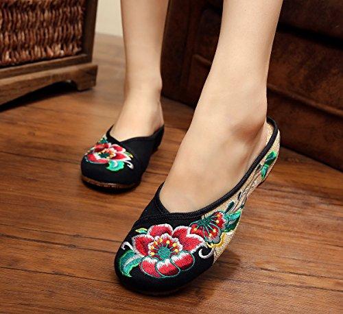 39 black femenino flip cómodo WXT lenguado bordados finos manera étnico flop sandalias del tendón Zapatos estilo CwTqwZAv