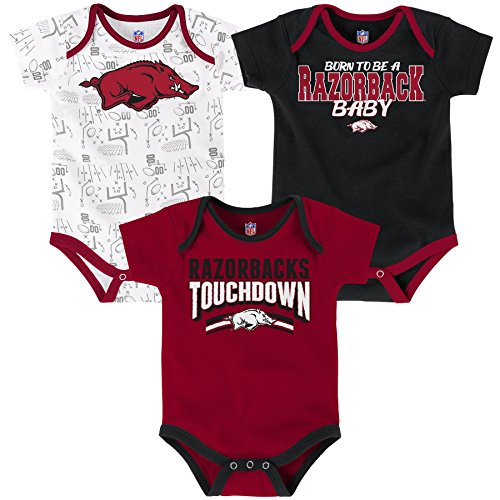 Ncaa Baby Creepers Shop - OuterStuff NCAA Arkansas Razorbacks Children Boys Playmaker 3Piece Onesie Set, 18 Months, Victory Red