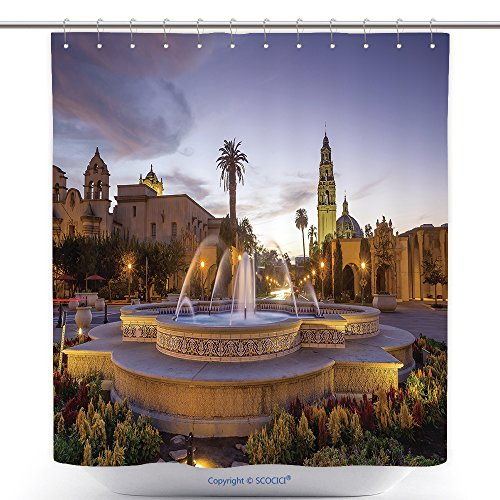 Fun Shower Curtains San Diego S Balboa Park At Twilight In San Diego California Usa 243877948 Polyester Bathroom Shower Curtain Set With Hooks (Balboa Park Halloween)