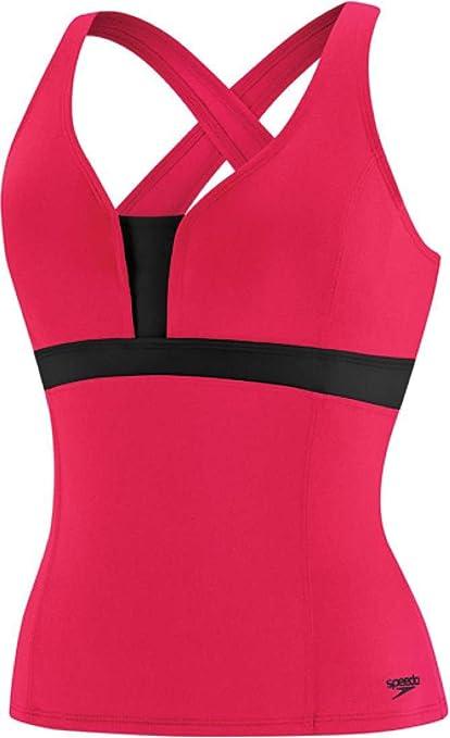 Speedo Endurance Plus Color Blocked Cross Back Tankini - Womens Size 10 Color Zinnia