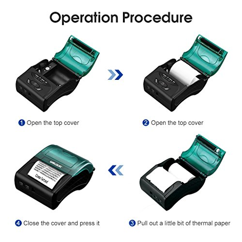 WELQUIC Portable Mini Wireless 58mm Bluetooth High Speed Direct Thermal Printer, Compatible with Android & IOS & Windows & Linux systems and ESC / POS Print Commands Set by WELQUIC (Image #4)