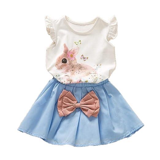 584f91281 Toddler Kids Baby Girls Easter Outfits Rabbit Vest Sleeveless Top +Tutu Skirt  2PCS Summer Clothes