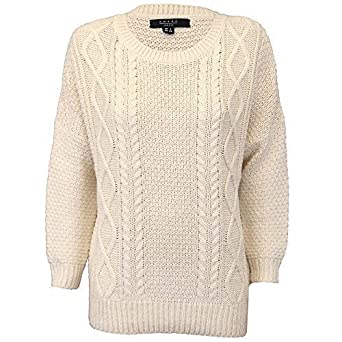 Ladies Jumpers Chunky Cable Knitted Top Jacquard Pullover Amara Reya Winter  New  Amazon.co.uk  Clothing 972c61a90