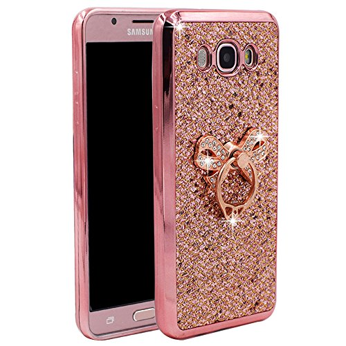 Galaxy J7 2016 SM-J710M/DS Case , Best Share Electroplated Soft Bumper Glitter Slim Bling Jelly TPU Back With Metal Ring Stand Case Cover For Samsung Galaxy J7 2016 Version J710 ,Rose With Bow Stand