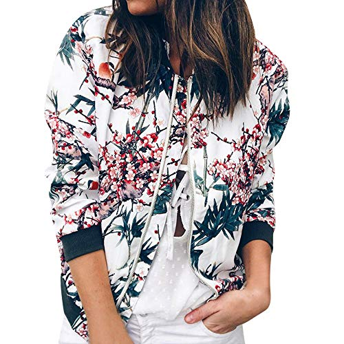 Longra♀ 2018 Otoño e Invierno Mujeres Ladies Retro Floral Zipper Up Bomber Jacket Casual Outwear Azul