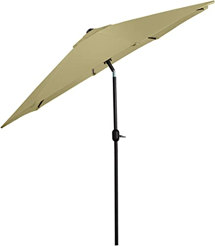 HL 9 Feet Outdoor Aluminum Patio Umbrella, Market Table Umbrella with Push Button Tilt and Crank,8 Ribs Beige