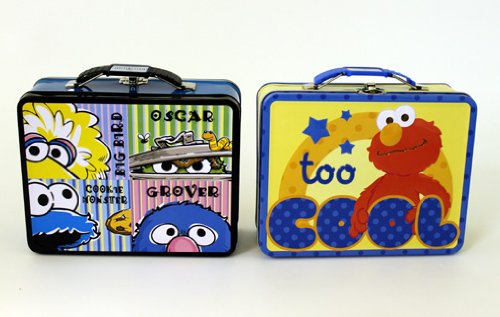 Lunch Box - Sesame Street - Elmo/Cookie Monster Metal Tin Case New 647627