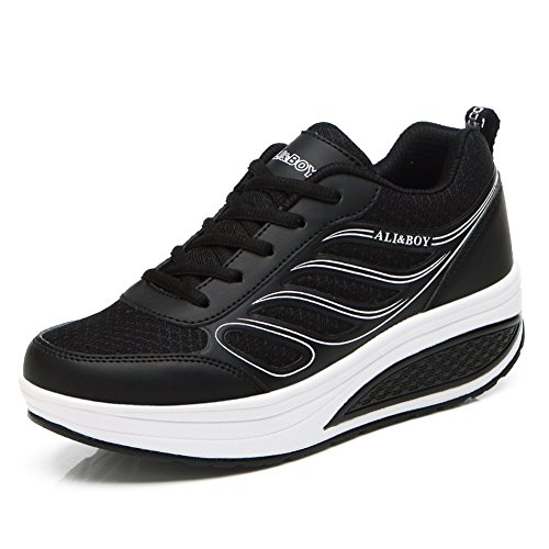 SHINIK Zapatos de mujer Tulle Primavera Verano Caída Creepers Sneakers Zapatos para caminar Cuña Talón Creepers Segundo