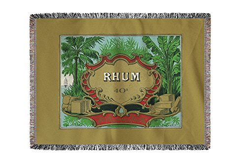 Rhum Forty Proof - Vintage Rum Label (60x80 Woven Chenille Yarn - Rum Proof 80