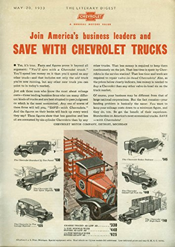 Save with Chevrolet Trucks ad 1933 Canopy Express Stakeside Sedan Delivery + ()
