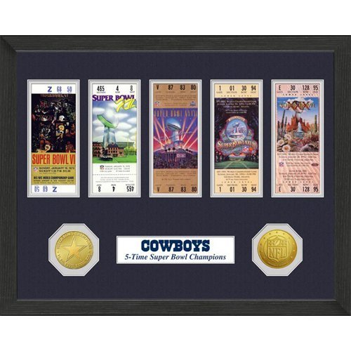 Dallas Cowboys Framed Super Bowl Tickets and Coins