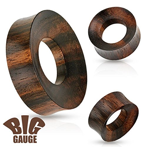 Large Rimmed Organic Wood Saddle Fit Tunnel Ear Plugs Gauges - Sold As Pair - 8 Sizes Available Up to 2