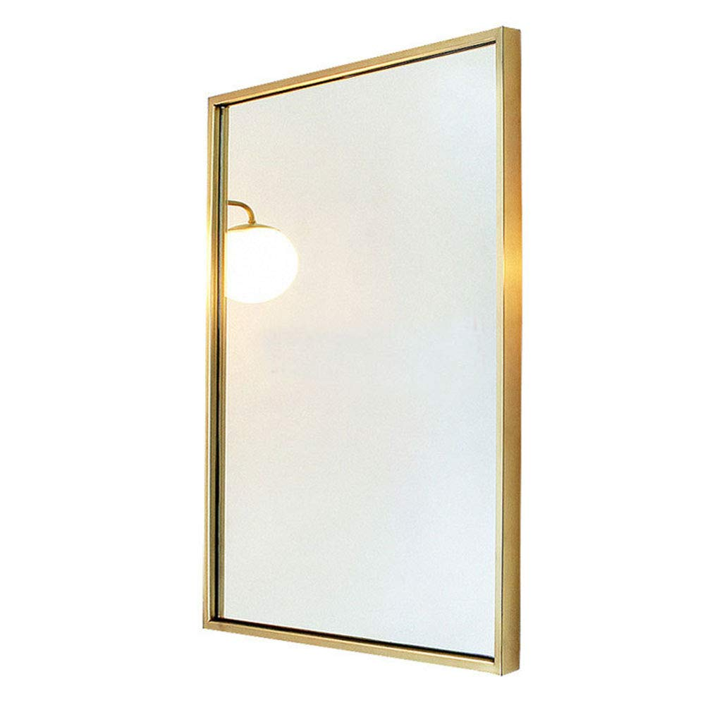 Mirror European and American Wall-Mounted, Copper Bedroom Living Room Decorative Bathroom Full-Length Vanity Makeup YZRCRK
