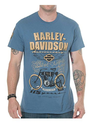 (Harley-Davidson Men's 115th Anniversary Model One Short Sleeve Tee, Blue)