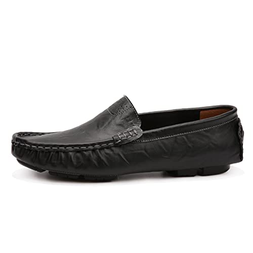 b9301f209f ailishabroy Men's Shoes Slip On Driving Genuine Leather Mens Loafers  Moccasins Large Size 48 (38