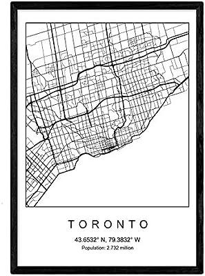 Nacnic Lámina Mapa de la Ciudad Toronto Estilo nordico en Blanco y ...