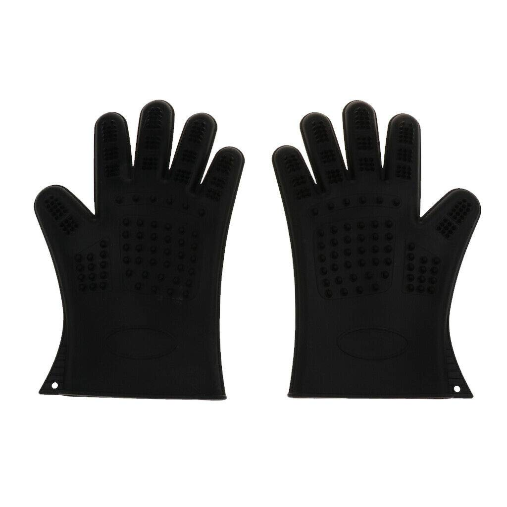 Agordo 2Pc Cleaning Brush Magic Glove Pet Dog Cat Massage Hair Removal Grooming Groomer (Color - Black)