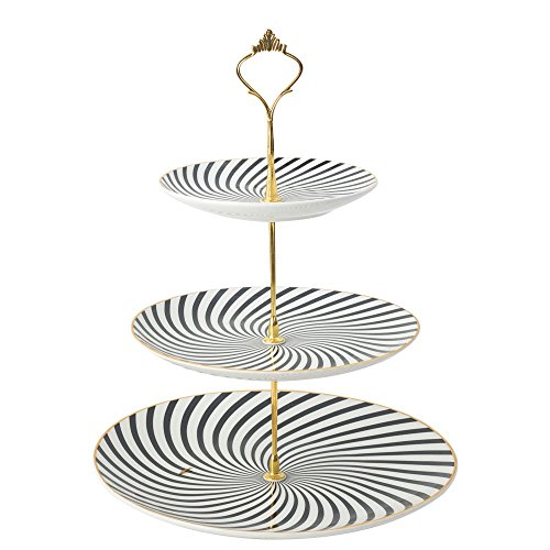 WINCANG 3-Tier Porcelain Round Stacked Party Cupcake and Dessert Tower - Stripe Cake Stand - 2602 (3 Tier, Black&White)