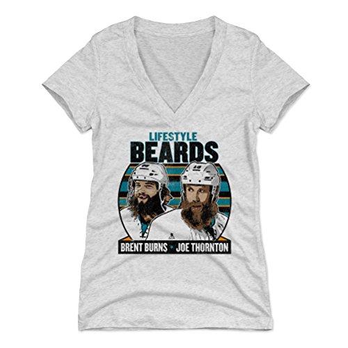 500 LEVEL Brent Burns Women's V-Neck Shirt (Large, Tri Ash) - San Jose Sharks Shirt for Women - Brent Burns Lifestyle Beards K