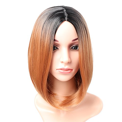 Fani Short Straight 14″ Bob wig Black and Dark Brown Ombre No Bangs With Free Wig Cap Wig Heat Resistant Synthetic Lace Full Wigs for Women