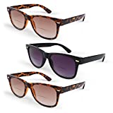 Primary Optics Retro Women's Wayfarer Spring Hinge Bifocal Sun Reader 3 Pack, 2 Brown, 1 Black +2.0