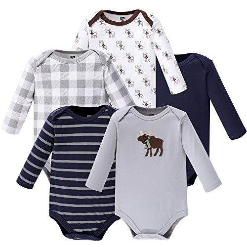 Hudson Baby Unisex Baby Long Sleeve Cotton Bodysuits, Boy Moose Long Sleeve 5 Pack, 6-9 Months (9M)