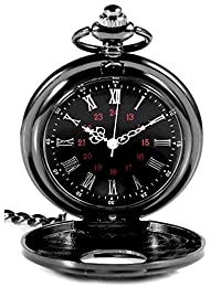 Classic Vintage Double Display Roman Numerals Design Case for Quartz Pocket Watch with Chain(Black)