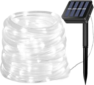 Silvom Solar Rope Lights, 33ft 100 LED Outdoor Solar String Lights, 8 Mode Waterproof PVC Tube Cover Fairy Light for Christmas, Halloween, Patio, Garden, Party, Wedding, Home Holiday Decor(Cool White)