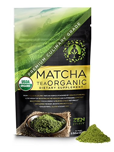 Matcha Green Tea Powder Organic ( Japanese Premium Culinary Grade ) - USDA & Vegan Certified - 100g (3.52 oz) - Perfect for Baking , Smoothies , Latte , Iced Tea , Herbal Teas . Gluten & Sugar Free
