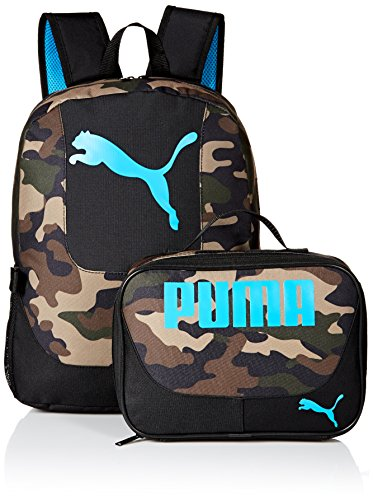 PUMA Boys' Little Backpacks and Lunch Boxes, Camo/Blue Kit, Youth ()
