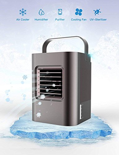 4in 1 Air Cooler - Anbber Portable Air Conditioner 5 in 1 Small Personal USB Air Cooler with UV LED Light, Humidifier and Purifier, Desktop Cooling Fan with Breathing LED Night Light and 3 Speeds for Office Home Travel
