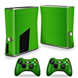 MightySkins Protective Vinyl Skin Decal for Xbox 360 S Slim + 2 controllers Case wrap cover sticker skins Lime Carbon Fiber