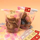 100Pcs Assorted Colorful DIY Soap/Cookie/Bakery/Cup Cake OPP Packing Bag-Lable Seal Sticker Included[50pcs for Each Color]
