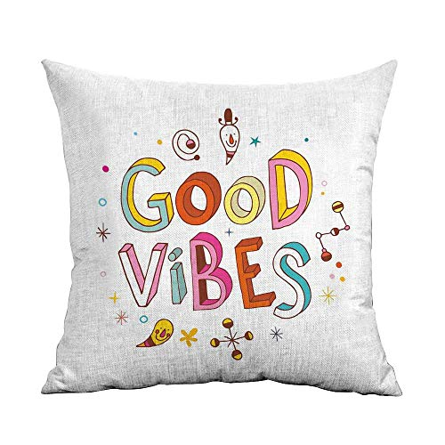(Good Vibes Bedding Soft Pillowcase Colorful Cheerful Fun Typography with Cartoon Style Kids Toddler Elements Print Hypoallergenic Pillowcase W16 x L16 Inch)