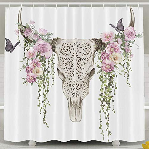 (Abaysto Vintage Rose Bull Skull Shower Curtain,Bath Curtains Bathroom Decor Sets with Hooks Shower Bath Curtain for Bathroom,Polyester Fabric Bathroom Shower Curtain)