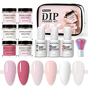 Dipping Powder Collection Nail Starter Kit of 6 Colors for French Nail Manicure Nail Art Set Essential Kit, 6pc Dipping Powder, 3pc 7ML Liquid, No UV Lamp, Easy to Apply (Multi)
