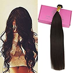 "Full Shine 18"" 0.8g per Strand 50 Strands Per Package Thick I Tip Extensions Color #2 Darkest Brown Pre-bonded Stick Tip Human Hair Extensions"