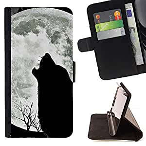 For Apple Iphone 5 / 5S Wolf Hauling Moon Wild Trees Nature Animal Style PU Leather Case Wallet Flip Stand Flap Closure Cover