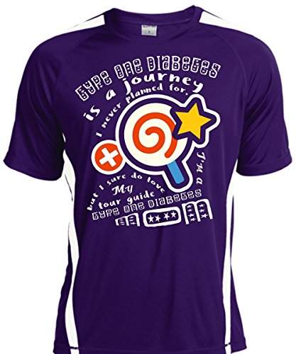 I Sure Do Love My Tour Guide Type One Diabetes Mom T Shirt, Family T Shirt Adult Colorblock (S,Purple/White)