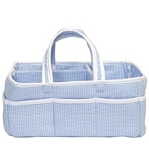 Gingham Seersucker Blue Baby Storage Nursery Caddy Diaper Organizer, Pet Supplies, Crafts
