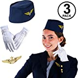 All Aboard! Enjoy your flight! Costume set includes; navy blue stewardess hat, white gloves, and an eagle gold pin. Flight attendant costume set is one size fits most adults and teens. Great easy costume set for any airplane, 50s, 60, 70s, retro dres...