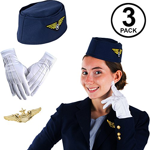 Tigerdoe Stewardess Flight Attendant Costume - Air Hostess Cabin Crew 3 Pc -