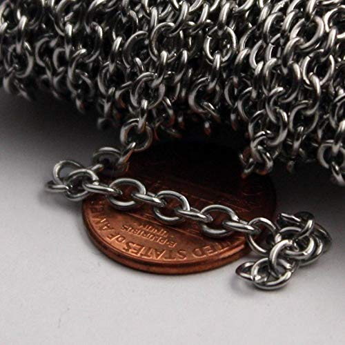 30 feet Stainless Steel Chain Surgical Sturdy Cable Chain Bulk Chain - 4.2x3.4mm 0.8mm Unsoldered Link